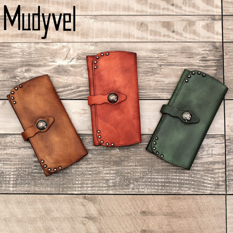NEW womens wallets soft cow leather luxury brand long genuine leather phones Purse with zippers Card Slots Retro women purses<br>