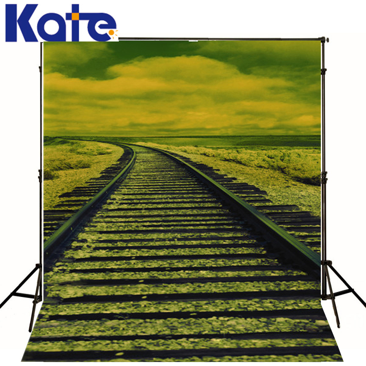 Photo Backdrops White Clouds Railway Photography Baby Backdrop Green Grass Backgrounds For Photo Studio<br>