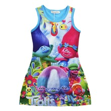 Trolls Children Dress Clothing Summer Dresses Girls Baby Pajamas Costume Moana Princess Nightgown Vestidos Infantis Clothes