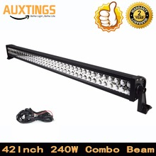 Automotive led light bar 42inch 240w 4x4 combo beam offroad led driving lights with wiring kit for Truck ATV Tractor SUV CAR(China)