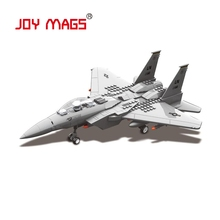 JOY MAGS F-15 Eagle Fighter Plane Building Blocks Military Army Set Models & Building Toys Wange Blocks Bricks JOY MAGS