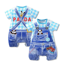 2017 new summer baby boys clothes girl hello kitty cat panda short-sleeved one-pieces jumpsuit newborn baby rompers(China)
