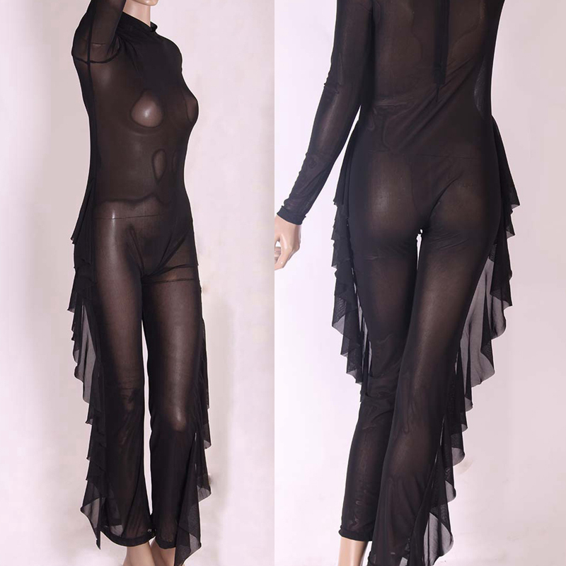 Women Tight Bodysuits Long Sleeve High Stretch Ruffles Night Club Rompers Women (7)