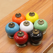 UNILOCKS 7 Colors For Choose Ceramic Handle Cabinet Door Pull Knobs Drawer Locker Cupboard Vintage Retro Gold