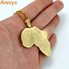 Anniyo (Pendant Size 4cm) Gold Color Africa Map With Lion Pattern Pendant and Thin Chain African Maps Jewelry #011421