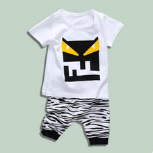 2017 New Summer Children's Cotton T-shirt+Zebra Pants Suit Baby Boys Girls Casual Cartoon Sets Kids Korea Style Fashion Clothing