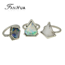 FANHUA 3pcs/set Boho Style Anel Antique Silver Color Geometric Green Blue Natural Stone Finger Rings sets for Women