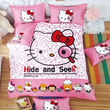 HOT SALE 3D Double Purple Hello kitty  4 Child Cartoon Pattern Bedding sets include duvet cover bed sheet pillowcase