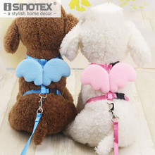 Pet Supplies Small Dog Puppy Cat Basic Lead Leashes Harness Collar Cute Angel Wings Nylon Fabric Solid Adjustable 5Colors 2Sizes(China)