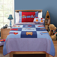 Free shipping truck/car/bus kids 2pcs bedding set handmade applique patchwork quilt bedspread set