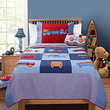 Free shipping truck/car/bus kids 2pcs bedding set handmade applique patchwork quilt bedspread set(China)