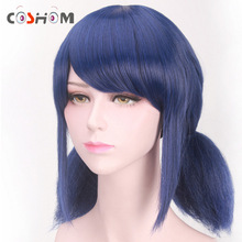 Coshome Miraculous Ladybug Wigs Peluca Marinette Girls Women Cosplay Double Ponytail Braids Short Straight Wig Blue Hair