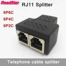 [ReadStar]20PCS/LO PCB connection telephone cable RJ11 splitter Gold plating 1 to 2 adapter 6P6C 6P4C 6P2C female to female(China)