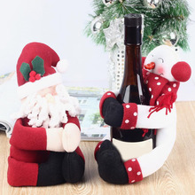 2 Set Red Wine Bottle Cover Bags Hug Santa Claus Snowman Dinner Table Decoration Home Christmas Party Decors