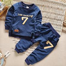 Spring Fall Baby Boys Clothes Sets Casual Sports Letters Tracksuit Infant Toddler Girls Clothes Top T Shirt + Pants Suit