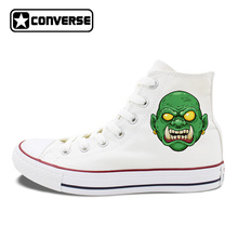 Original Design White High Top Converse All Star Shoes Creepy Green Face Monster with Tusk Halloween Theme Canvas Sneakers
