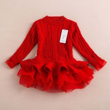 2016 New Baby Girls Christmas sweater Dress Costume children warm winter Dresses Xmas Red color toddler girls Clothing 2-6y(China)