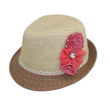 Toddler Girls Fedora Hat with Flower Short Brim Baby Beach Sunhat Girls Straw Top Hat Baby Hat Dicers 1pc DH004