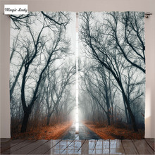 Curtains Gray House Decor Collection Mystic Road Light Cloudy Autumn Sky Trees Orange Leaves Living Room 2 Panels Set 145*265 sm