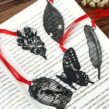 Hollowed-out black bookmark , Bird / Flower / Butterfly / Feather / Leaf metal bookmarks with envelope as gift