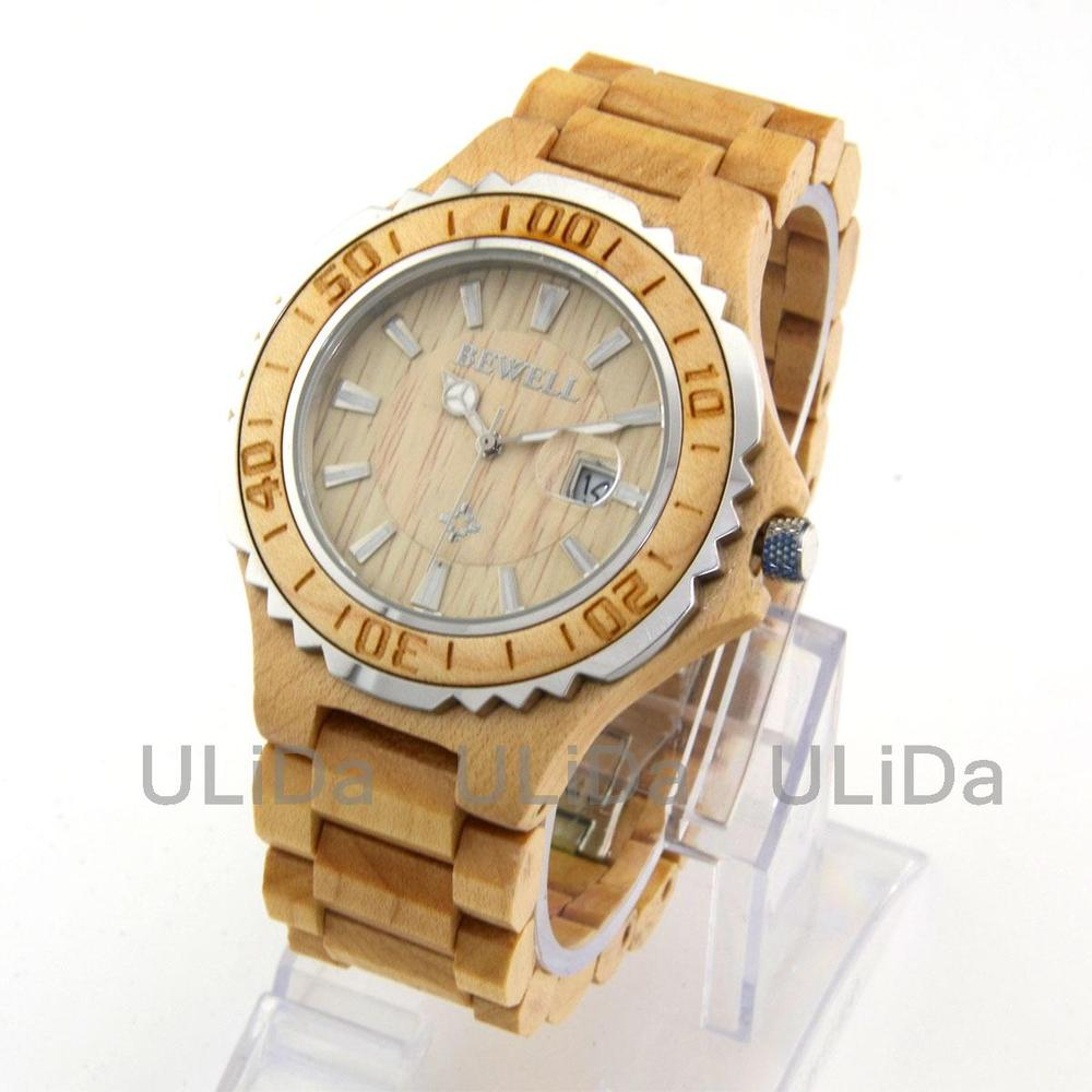 3ATM Men's Wooden Watches Natural Maple Wood Casual C $