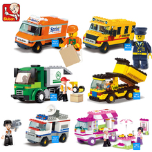 Building Blocks City House Snack Car TV Express Police Truck school bus Car Brick girls Toy Compatible with Legoe(China)