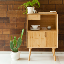 ZEN'S BAMBOO Nightstand Miti Function Storage Drawer Cabinet Bed Side Table Living/Bedroom Funiture