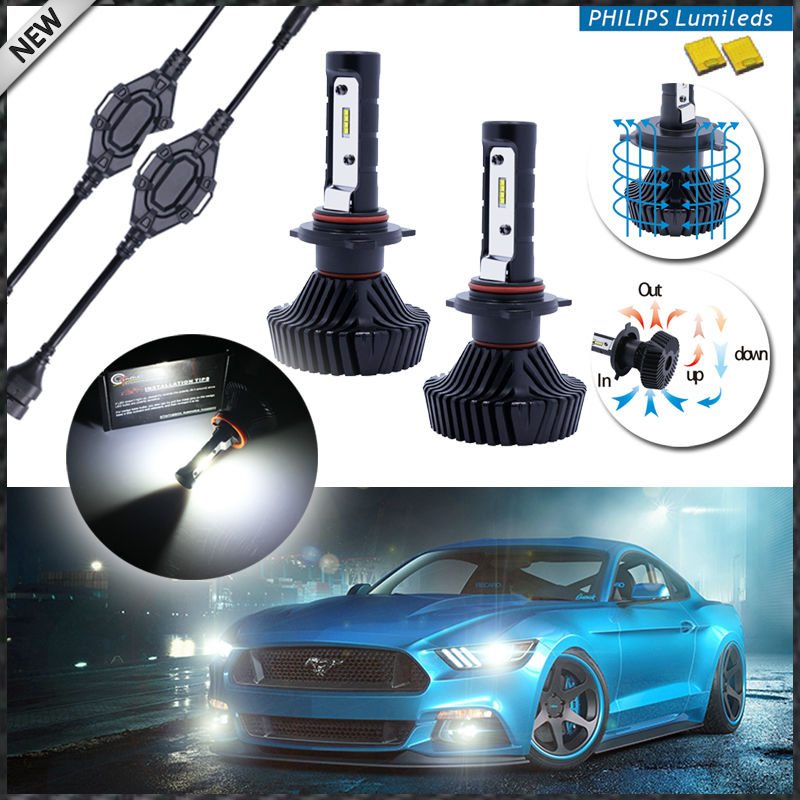 2pcs High Power LED Headlight Bulbs - 9005 9006 H10 -Xenon White, Powered By Philips Luxeon LED with Removable Fan-less Heatsink<br><br>Aliexpress