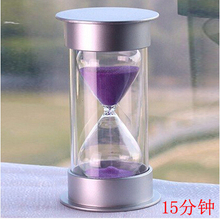 Free Shipping Plastic Crystal Hourglass 10/15/30 Minutes Sand Clock Decoration Hourglass Timer(15min, Purple)
