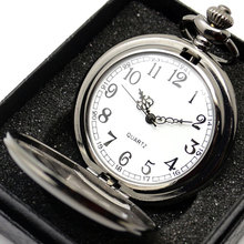 Vintage Charm Black Smooth Steampunk Pocket Watch Men Women Necklace Pendant Clock Chain With Gift Box Shop New Birthday Gifts(China)