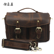Vintage corium SLR DSLR Camera bag  For Canon Sony Nikon Shoulder Bag cow  leather Messenger Bag  handbag with men and women