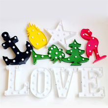 LED Night Light Flamingo Pineapple Cactus Star Marquee Letter Lamps For Kids Gift Party Wedding Birthday Christmas Tree Home Dec(China)