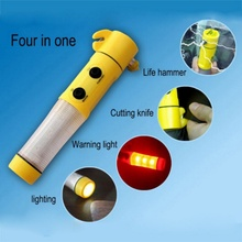 4-in-1 Multifunctional Car Emergency Escape Tool LED Flashlight Seatbelt Cutter Window Breaker Safety Hammer(China)