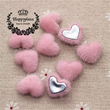 50pcs Cute Pink Hariy Fabric Covered Heart Buttons Home Garden Flatback Cabochon Crafts Scrapbooking DIY,14*17mm