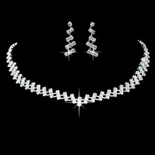 New Designer Silver Rhinestone Crystal Wedding Jewelry Sets Choker Necklace Earrings Simple Bridal Bridesmaid Jewllery(China)