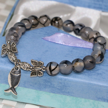 Silver-color fish accessory 8mm black round dragon veins agat stone onyx carneliab beads strand bracelet jewels 7.5inch B2028