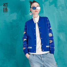 Toyouth Autumn New Women Fashion Baseball Jacket Print Plaid Long Sleeve Short Jacket Lady Thin Outwears