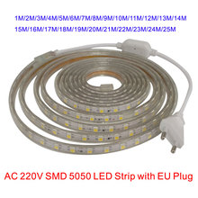 Waterproof SMD5050 led tape light AC 220V SMD 5050 flexible led strip 60 leds/Meter 220 v outdoor garden lighting with EU plug