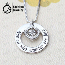 NEW  Not all who wander are lost Compass Charm Inspirational Silver Plated Necklace Gift for Graduation #LN1218