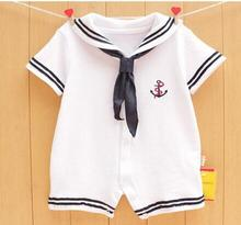 mrs win drand2017 Newborn baby clothes White Navy Sailor uniforms summer baby rompers Short sleeve one-pieces jumpsuit