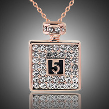 Autumn Fashion Gold Color Square Pendant Necklace Lucky Number 5 Crystal Jewelry Gift Perfume Bottle Necklace For Women
