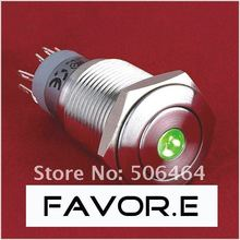 Stainless steel 16mm IP67 3A/250VAC dot illuminated 2NO 2NC Momentary metal LED light Switch Flat round(China)