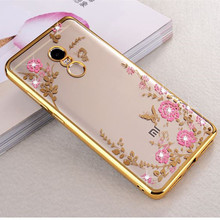 For Xiaomi Redmi Note 4X Case Plating Flora Diamond Chic Flower Soft TPU Silicone Cover Case For Redmi Note 4X Phone Fundas Case(China)