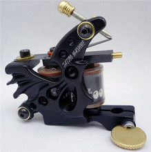 Professional Coil Tattoo Machine Black 10 Wrap Coils Steel Tatoo Frame Tattoo Coils Machine for Liner Shader TM-7219