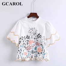 GCAROL New Arrival O Neck Floral Embroidery Blouse Euro Style Fashion Pullover Flare Sleeve Tops For Ladies(China)