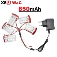 SYMA X5UW X5UC 850mAh 3.7V LiPo Battery + 220~240V Euro or US Plug AC Charger RC Drone Quadcopter Spare Battery Parts