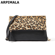 ARPIMALA Charming Leopard Evening Bags Horse Hair Women Clutch Bag High Quality Leather Party Bag Designer Shoulder Bag