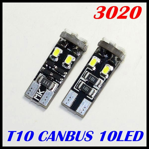 500 pcs/Lot T10 canbus led light T10 10 smd 3020 1206 warning canceller indicator Lamp License auto canbus clearance lighting<br><br>Aliexpress