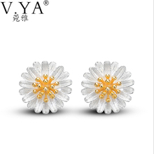 100% Real 925 Sterling Silver Daisy Earrings for Women S925 Silver Classic chrysanthemum Stud Earring New Fine Jewelry CE151(China)