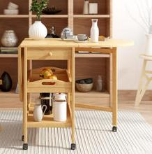 Folding table. Wooden retractable folding table. Portable receiving table.